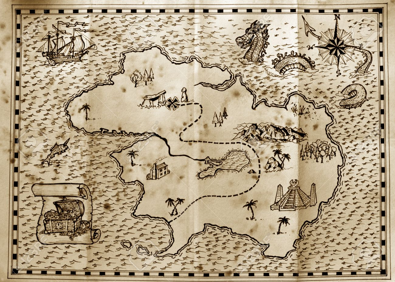Old treasure map used by pirates to find hidden treasure