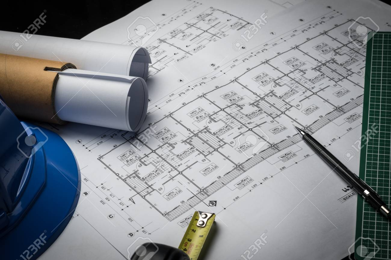 Engineering diagram blueprint paper drafting project sketch engineering diagram blueprint paper drafting project sketch architecturalselective focus stock photo 69788736 malvernweather Image collections