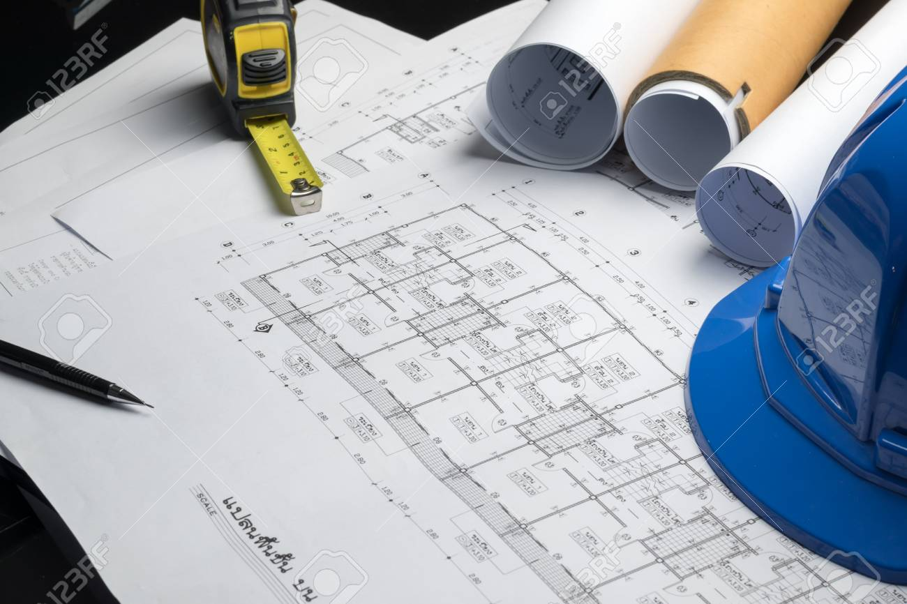 Engineering diagram blueprint paper drafting project sketch engineering diagram blueprint paper drafting project sketch architecturalselective focus stock photo 69895258 malvernweather Images