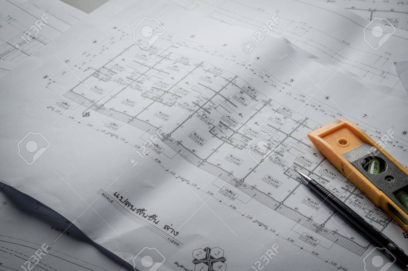 Engineering diagram blueprint paper drafting project sketch engineering diagram blueprint paper drafting project sketch architecturalselective focus stock photo 69862245 malvernweather Choice Image
