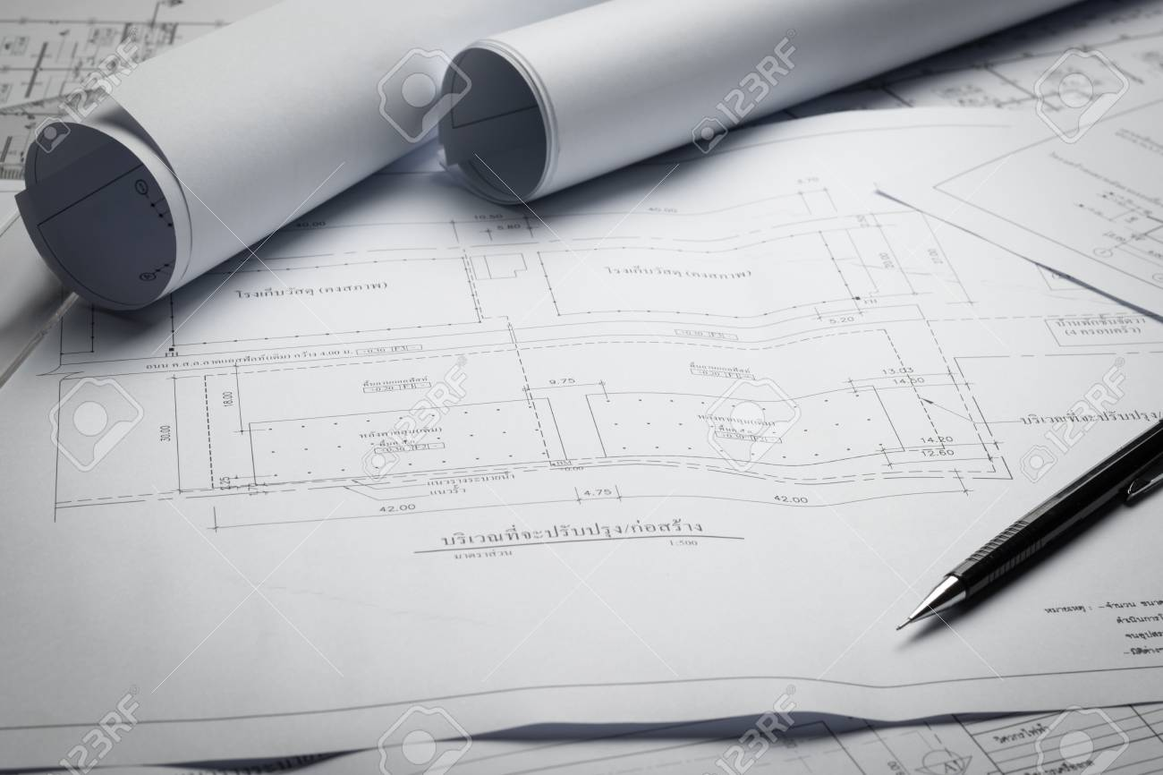 Engineering diagram blueprint paper drafting project sketch engineering diagram blueprint paper drafting project sketch architecturalselective focus stock photo 70637385 malvernweather Image collections