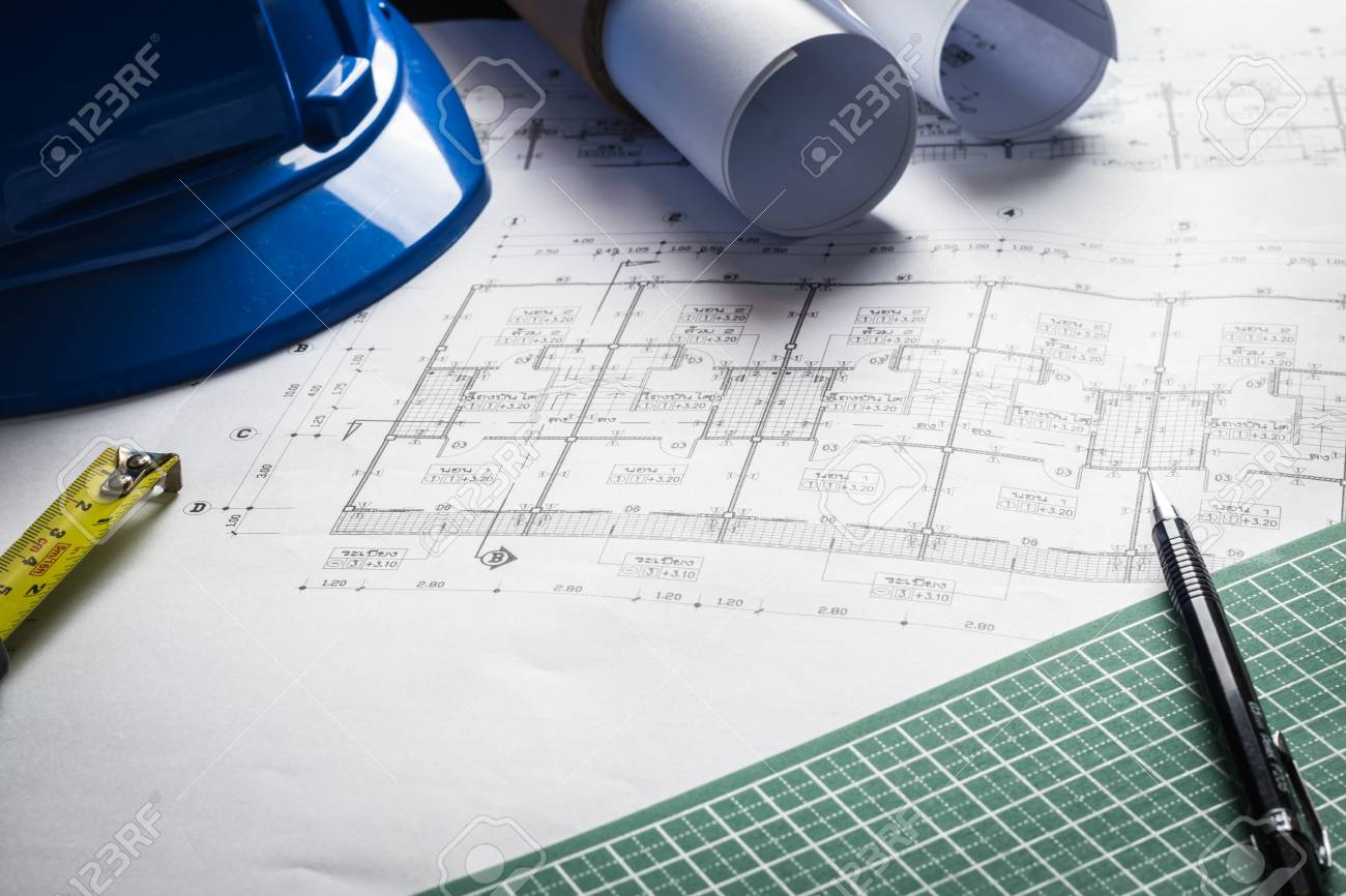 Engineering diagram blueprint paper drafting project sketch engineering diagram blueprint paper drafting project sketch architecturalselective focus stock photo 69799710 malvernweather Image collections