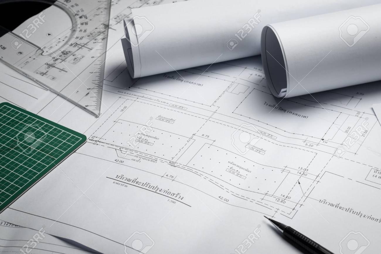 Engineering diagram blueprint paper drafting project sketch engineering diagram blueprint paper drafting project sketch architecturalselective focus stock photo 70593674 malvernweather Choice Image