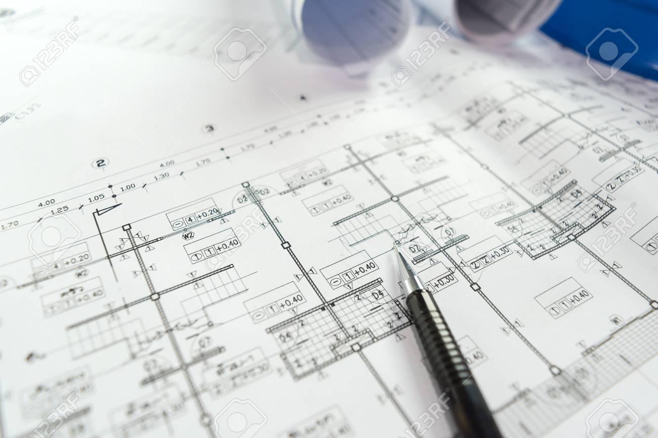 Engineering diagram blueprint paper drafting project sketch engineering diagram blueprint paper drafting project sketch architecturalselective focus stock photo 78486902 malvernweather Choice Image