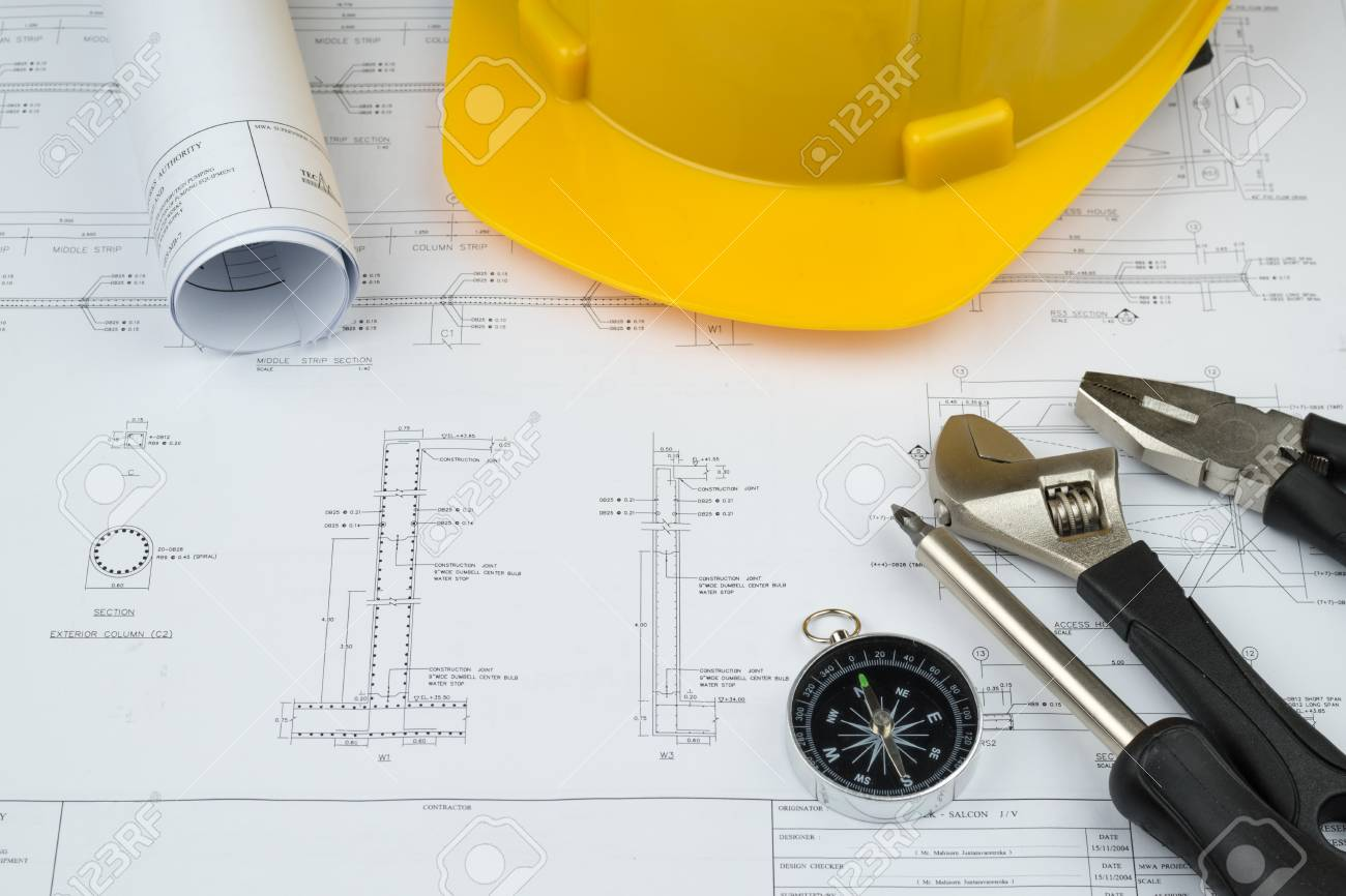 Engineer construction business work concept engineering blueprint engineer construction business work concept engineering blueprint diagrams paper drafting and industrial equipment technical tools malvernweather Gallery
