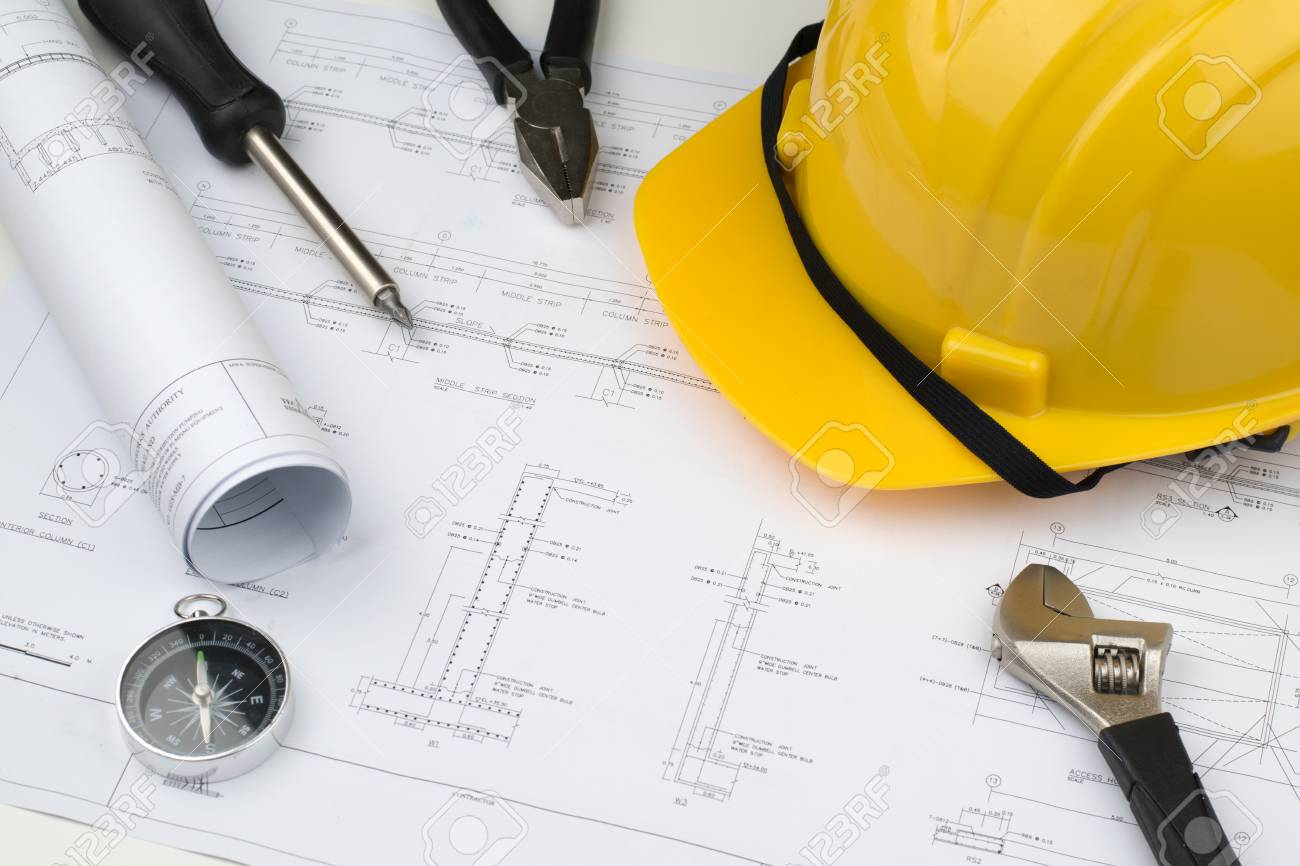 Engineer construction business work concept engineering blueprint engineer construction business work concept engineering blueprint diagrams paper drafting and industrial equipment technical tools malvernweather Image collections