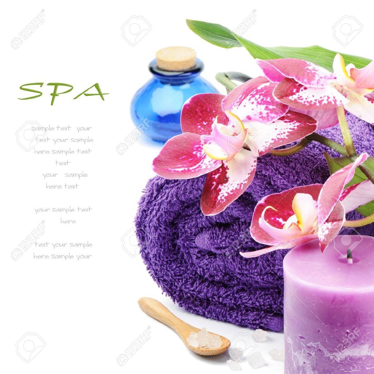 Spa setting in purple tone over white - 12926733