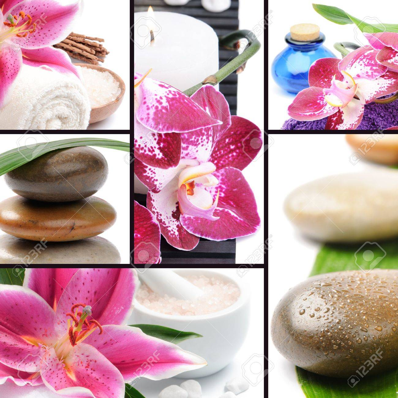 Spa concept. Collage with spa stones and flowers Stock Photo - 13231570