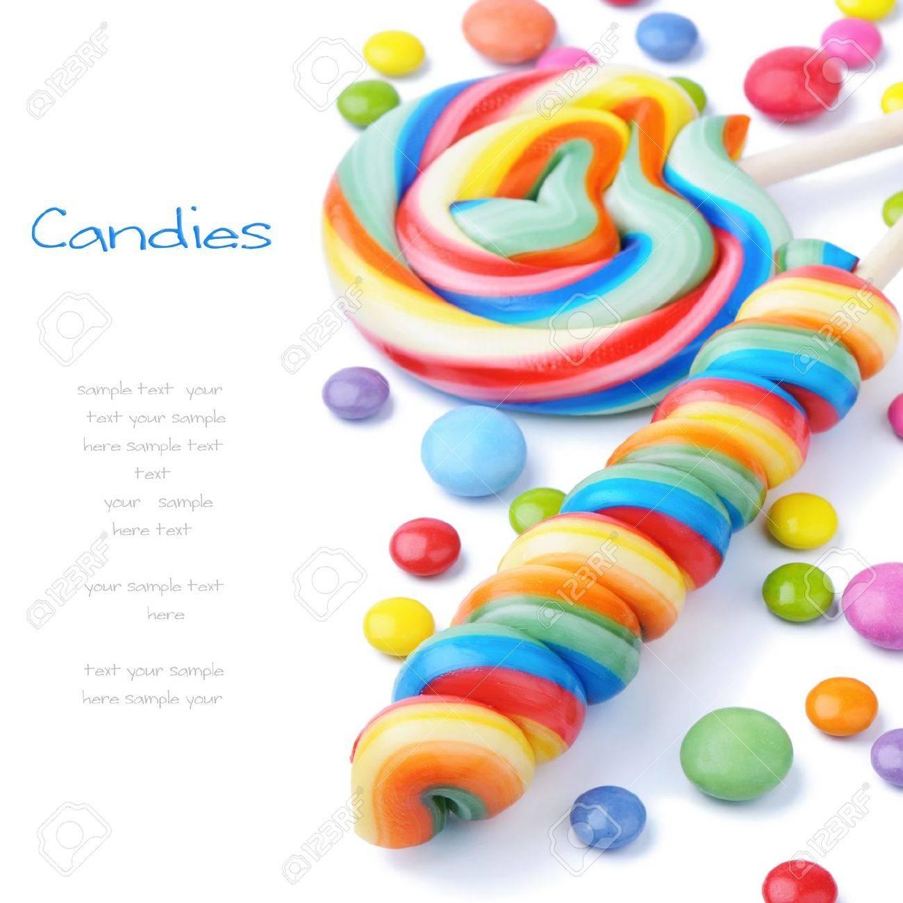 sucettes colores et smarties isol sur blanc banque dimages 13509323 - Sucette Colore