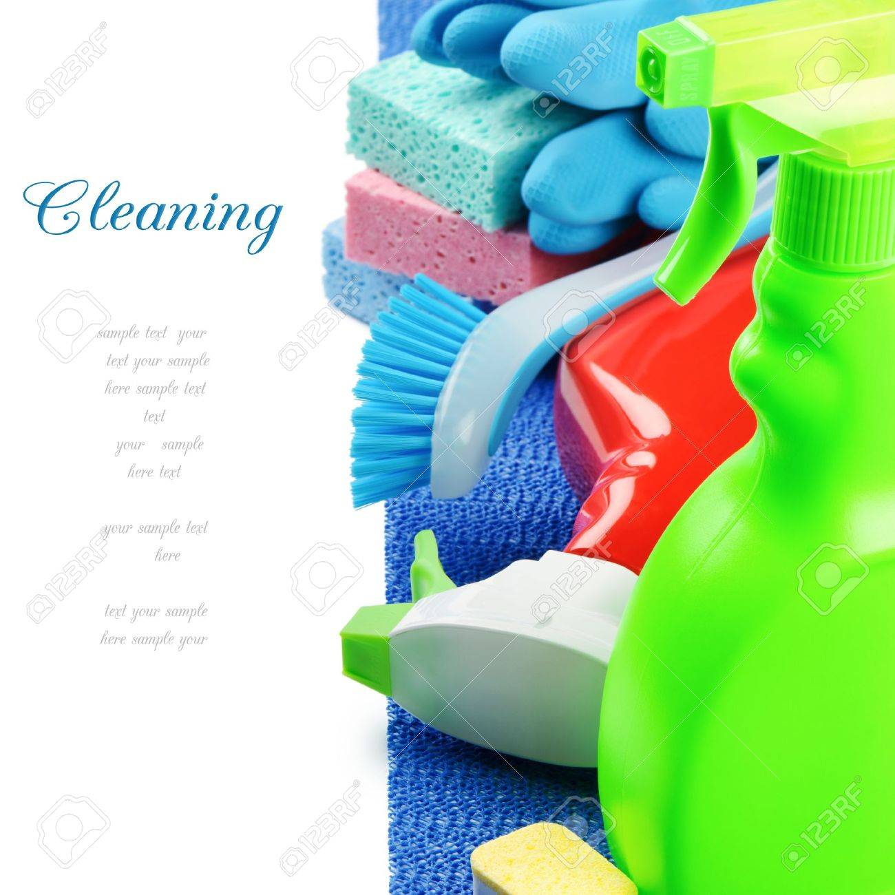 Colorful cleaning products isolated over white Stock Photo - 15695565