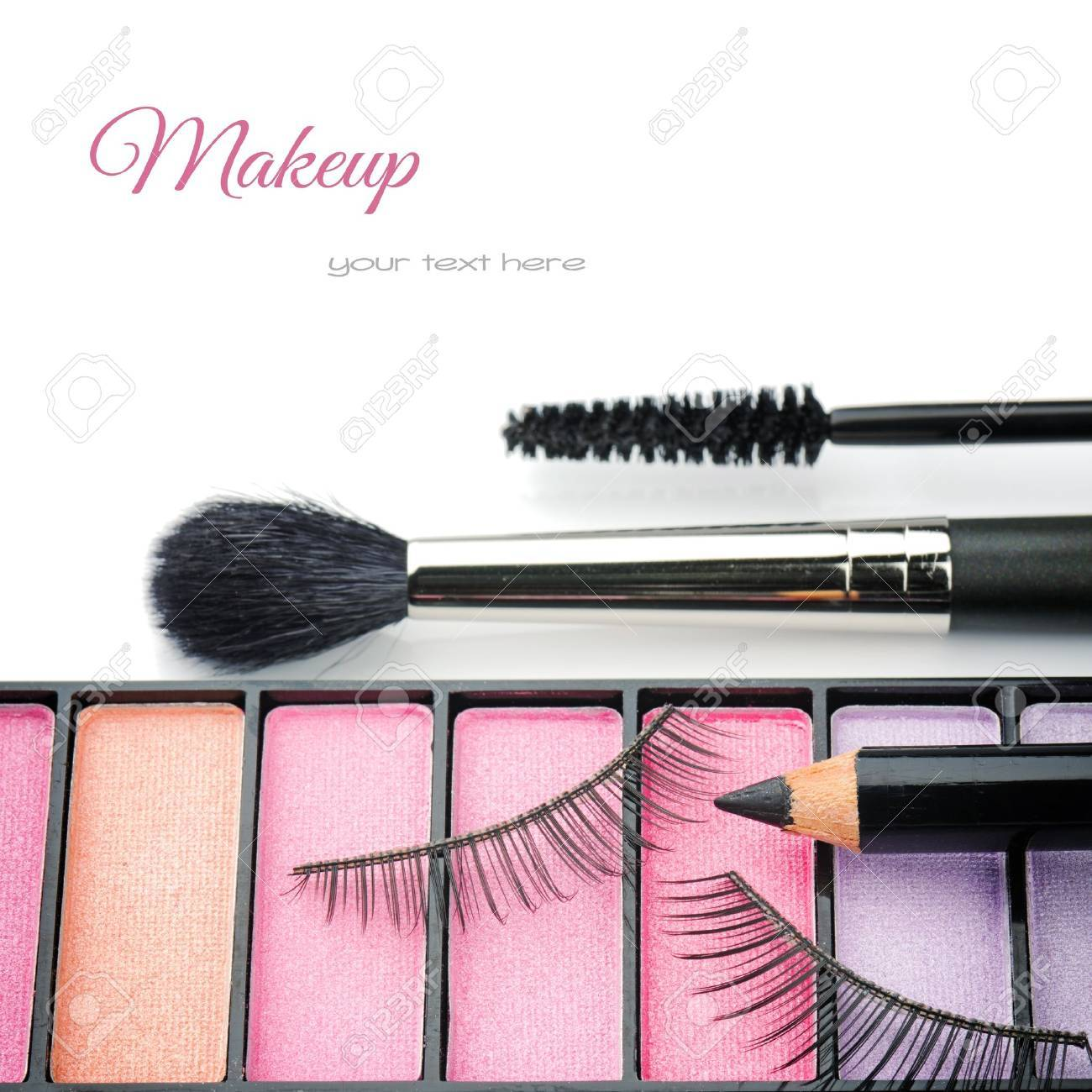 Cosmetics for eye makeup isolated over white Stock Photo - 20245032