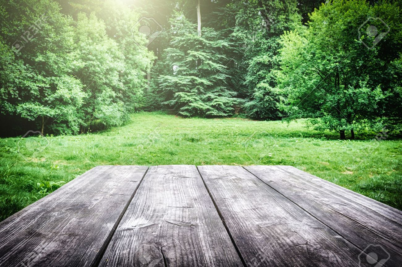 Picnic Table Background - Stock photo wooden picnic table with green nature on the background