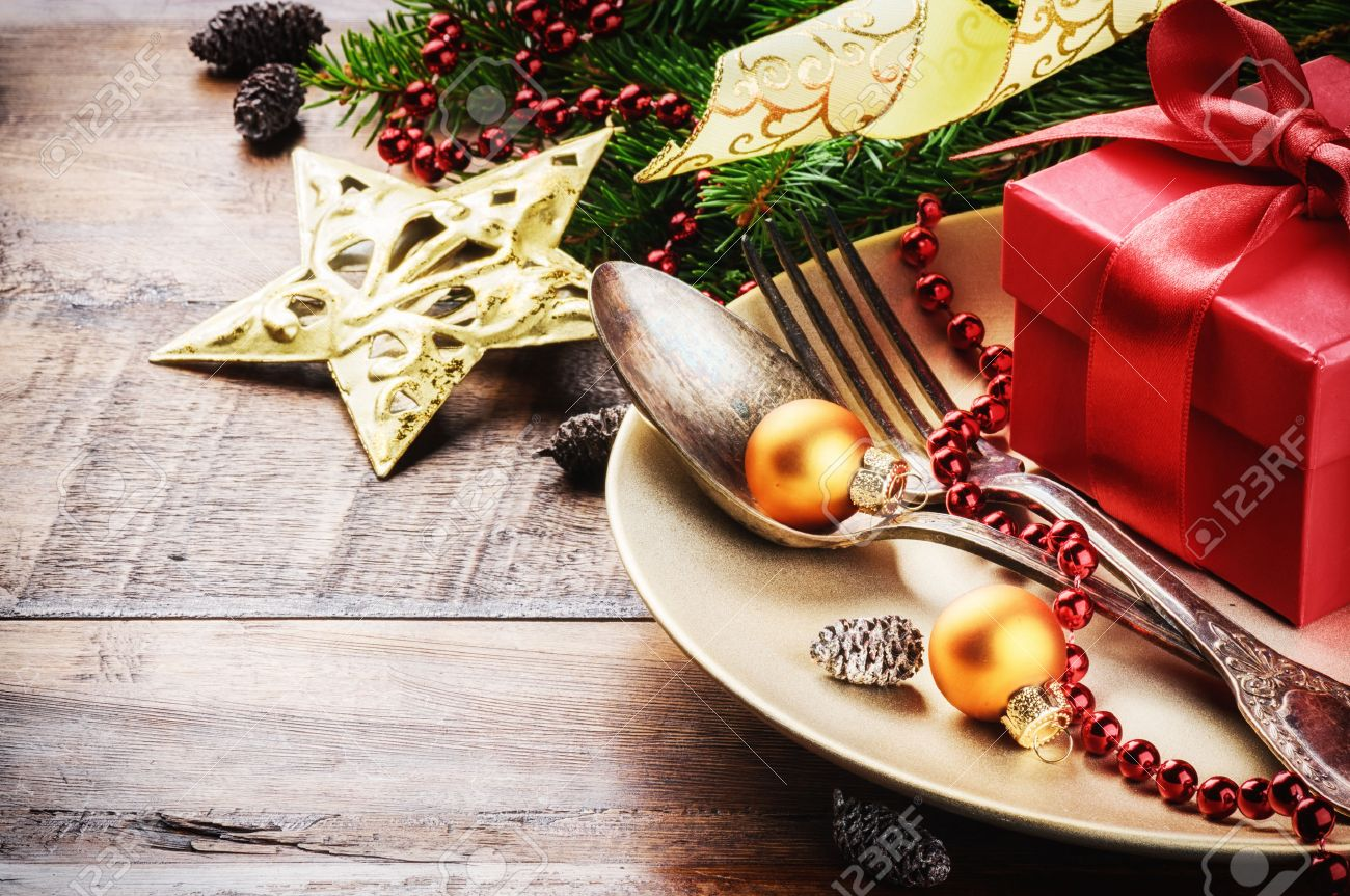 Christmas Table Setting Christmas Table Setting In Gold And Red Tone Stock Photo Picture