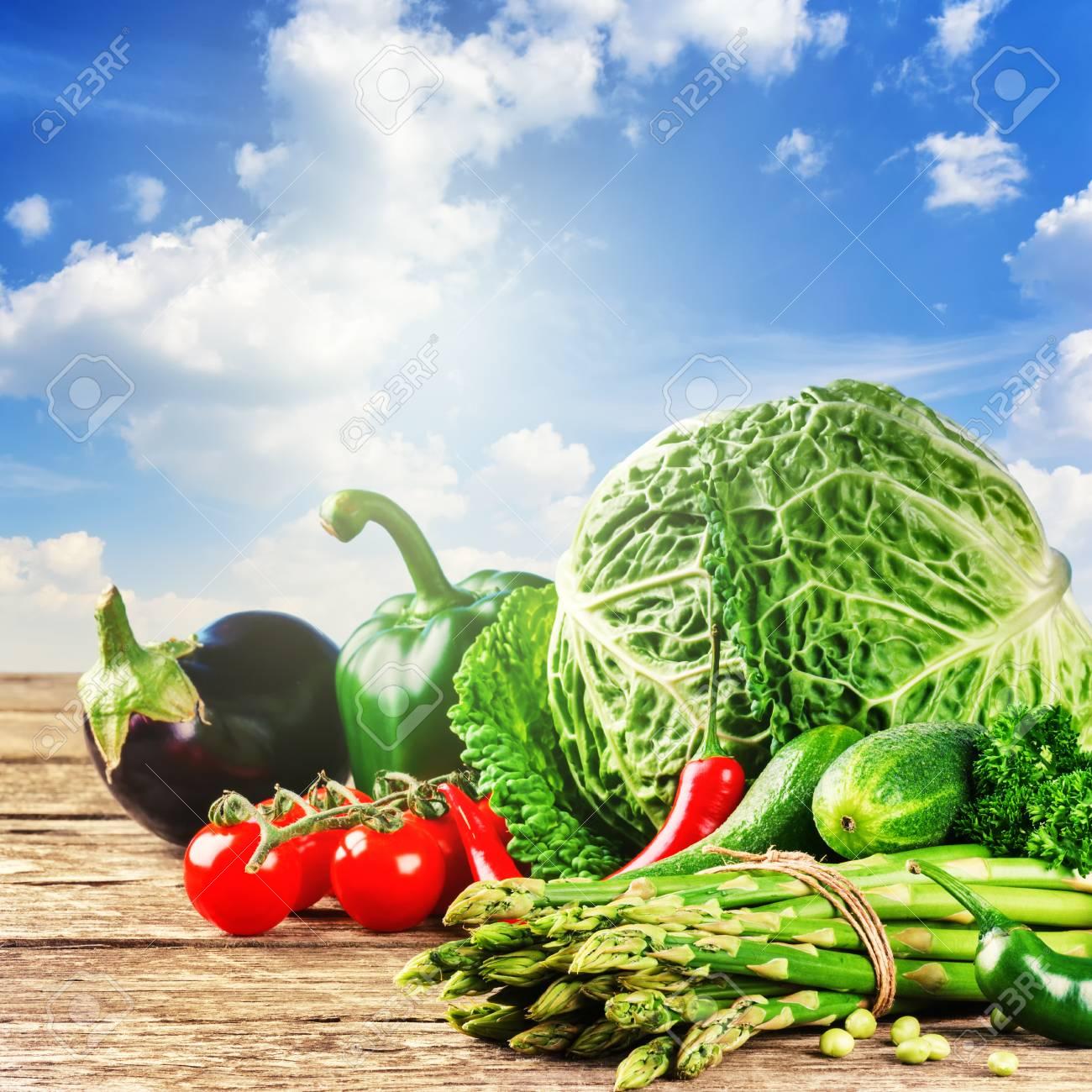 Des Légumes Biologiques Frais En Plein Air. Concept De Nourriture ...