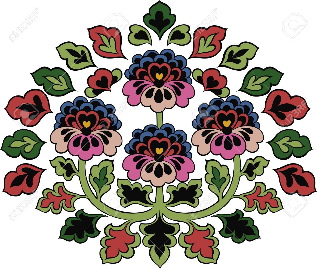 colorful flower branch emblem Stock Vector - 7271161