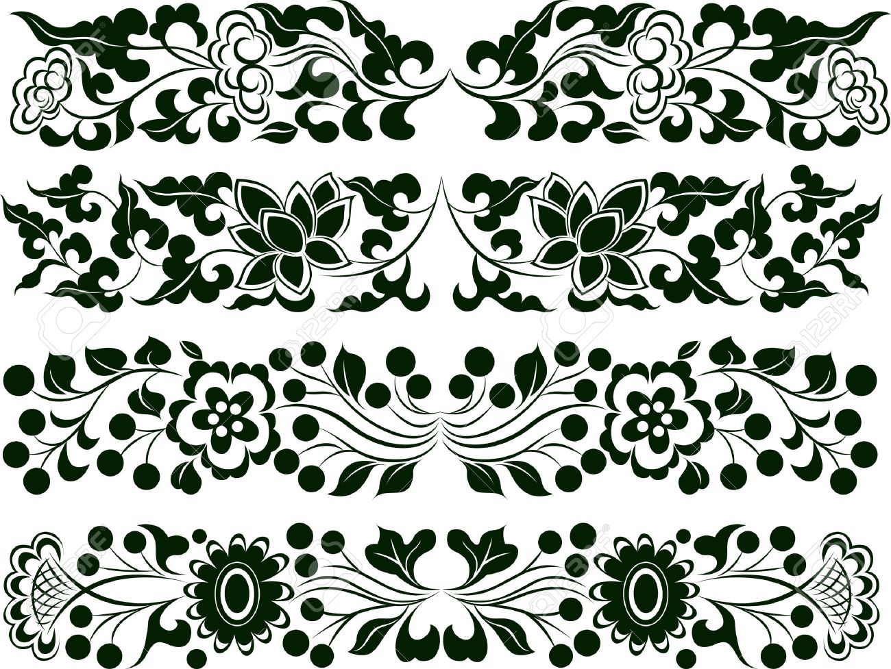 Flower Element Set Border Stock Vector - 8196854