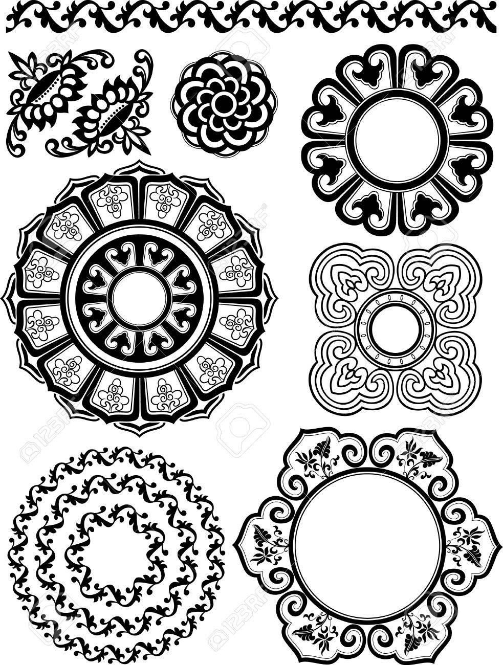 spiral floral pattern set Stock Vector - 9121140