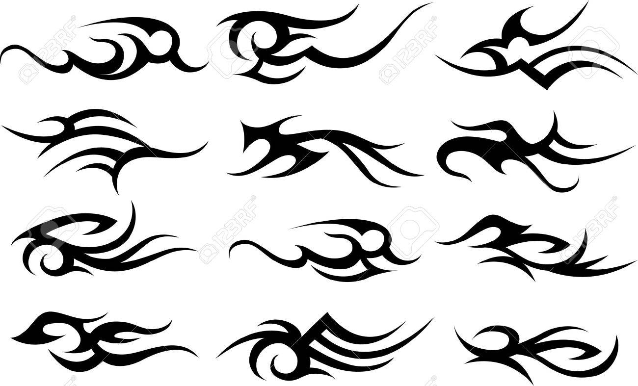 scroll tattoo symbol set royalty free cliparts vectors and stock