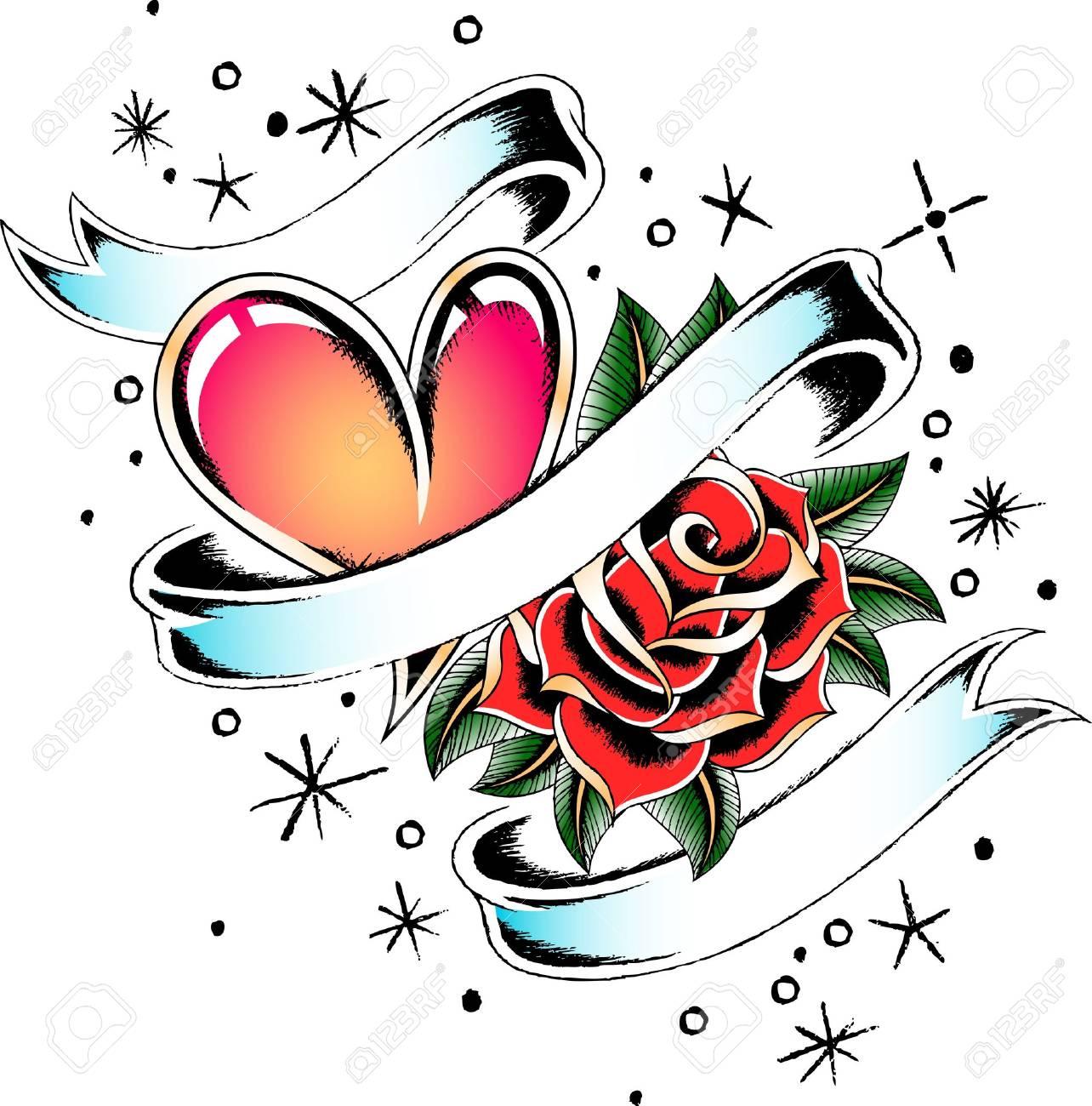 Corazon Y Banner Rose Tattoo Ilustraciones Vectoriales Clip Art