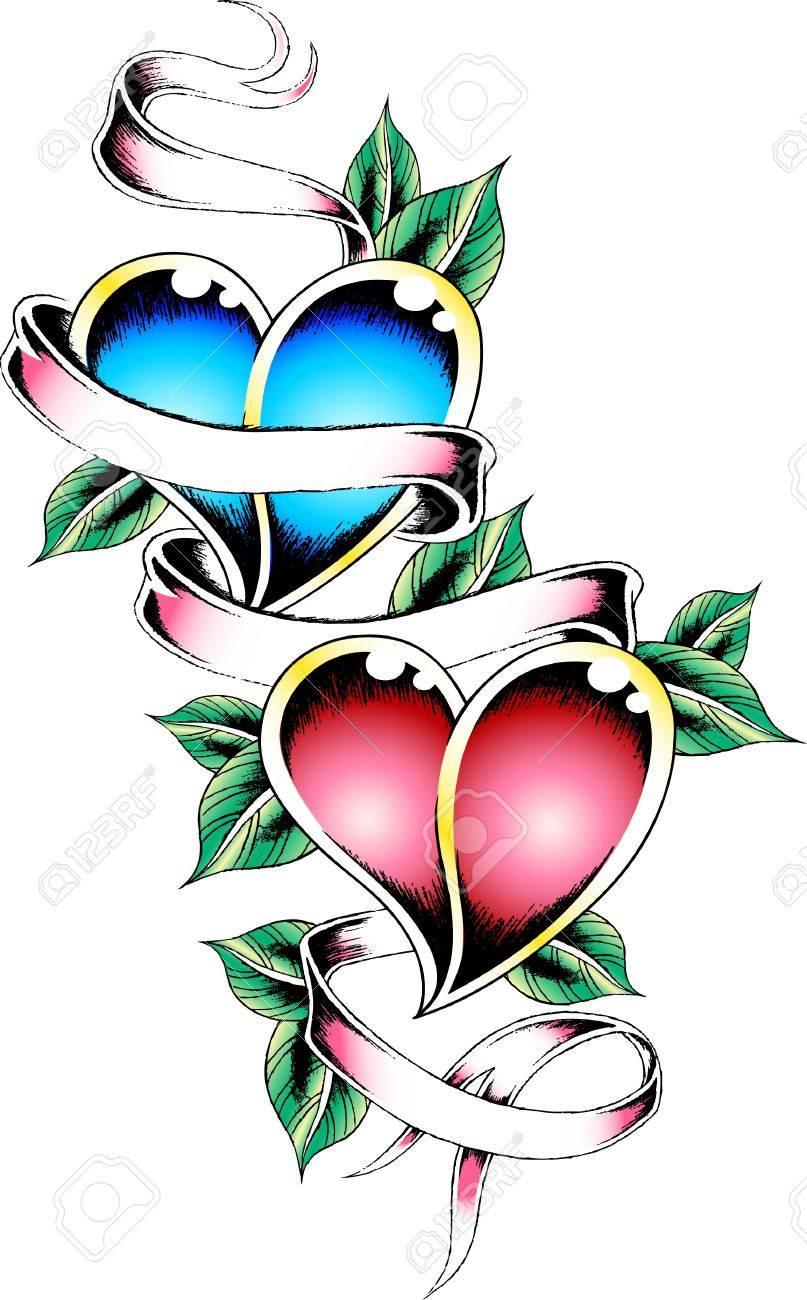 heart ribbon tattoo Stock Vector - 10055302