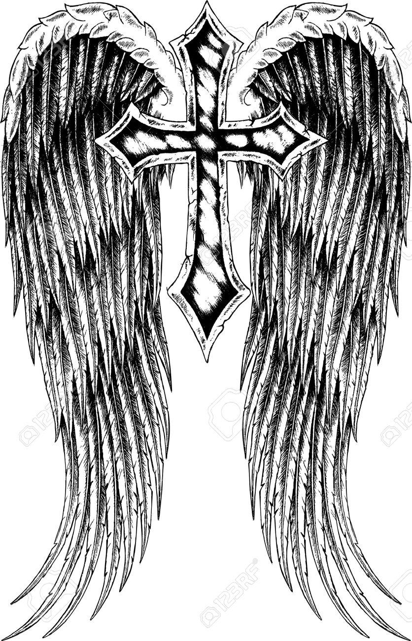 Cruz Con Diseño De Alas Ilustraciones Vectoriales Clip Art
