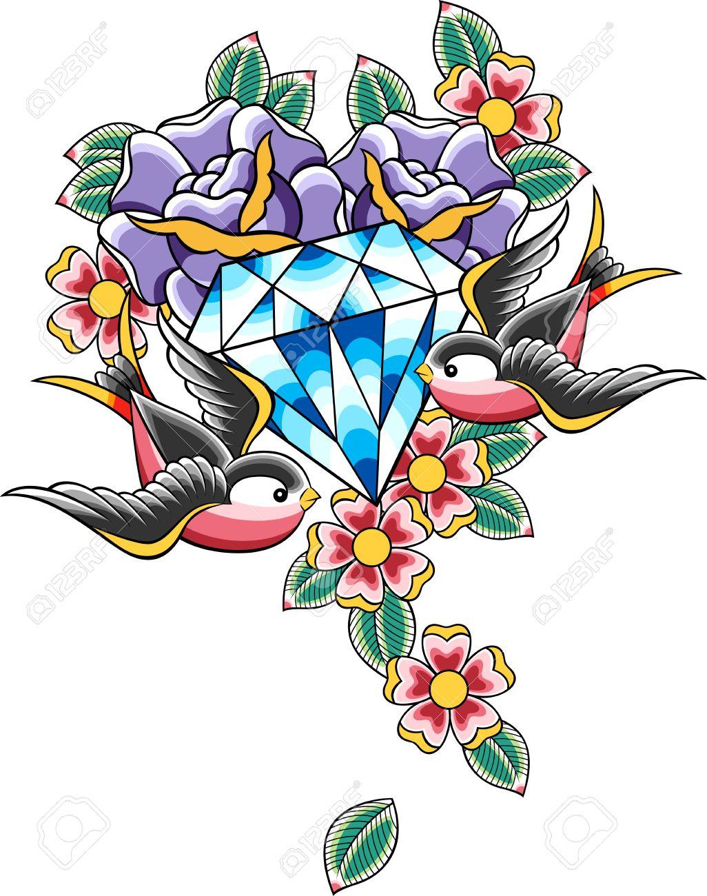 bird and diamond tattoo Stock Vector - 10460486