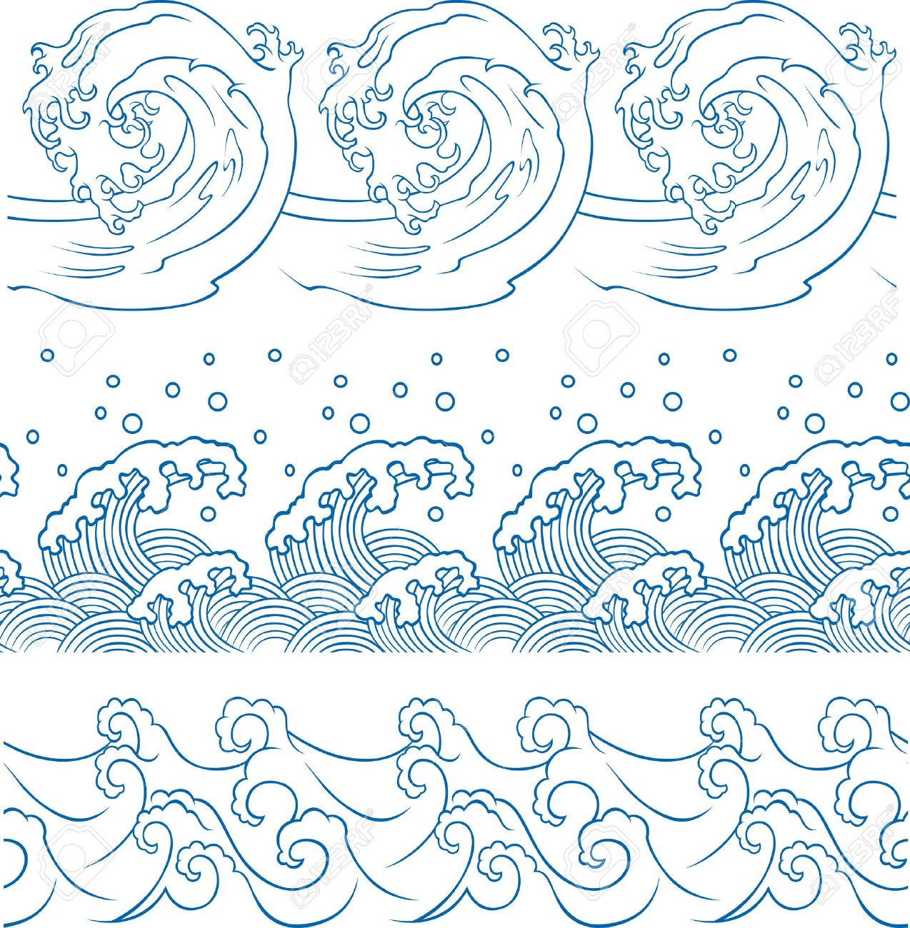 ocean wave repeated pattern Stock Vector - 10849204