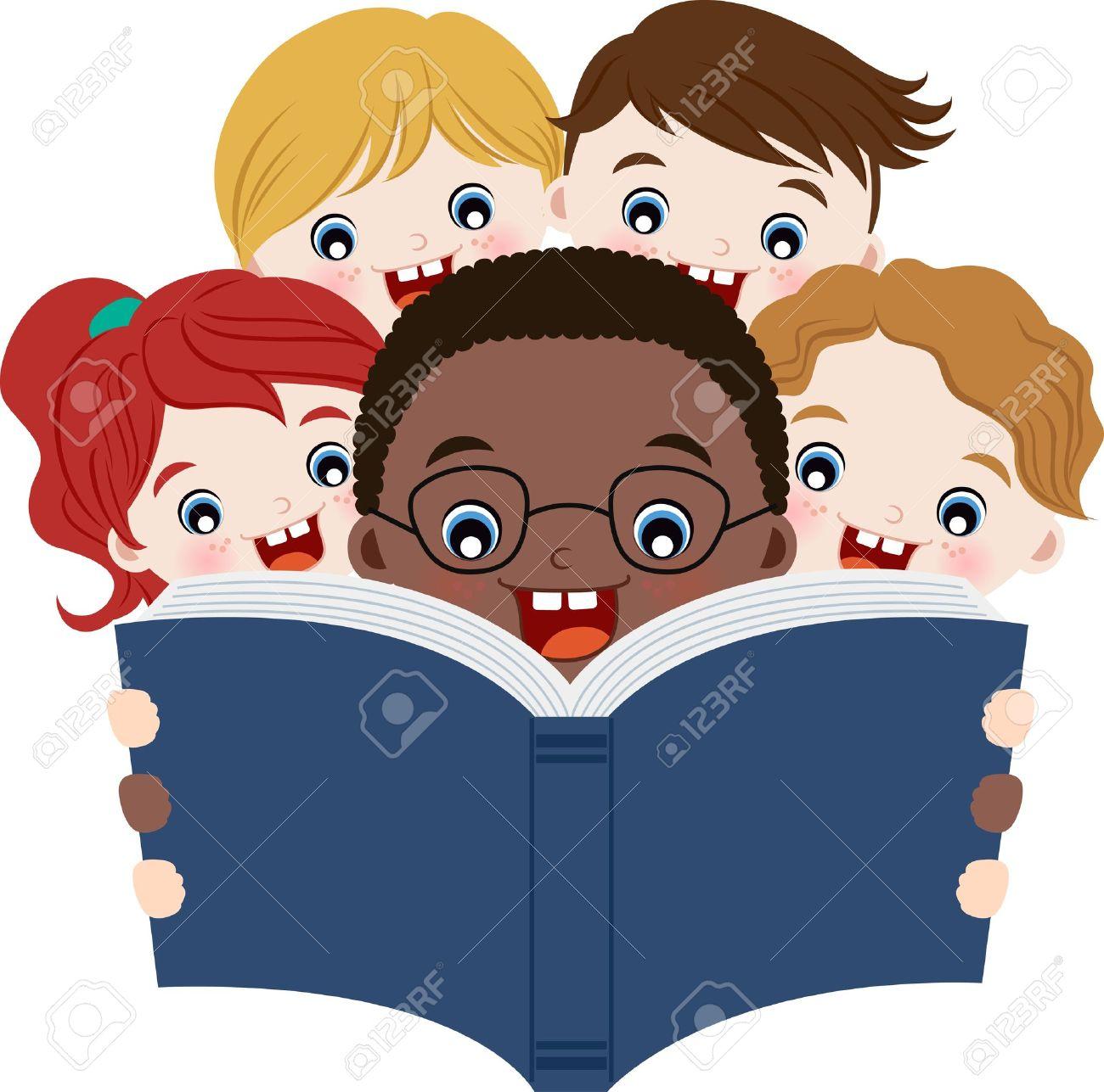 Multicultural children reading book - 14259833