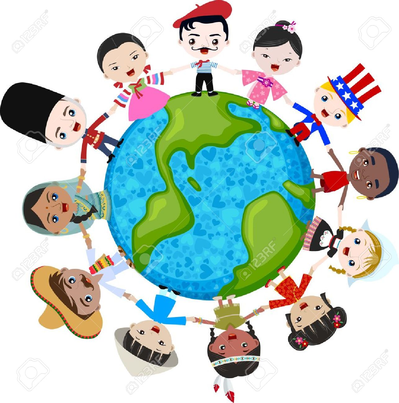 multicultural children on planet earth, cultural diversity Stock Vector - 14557856