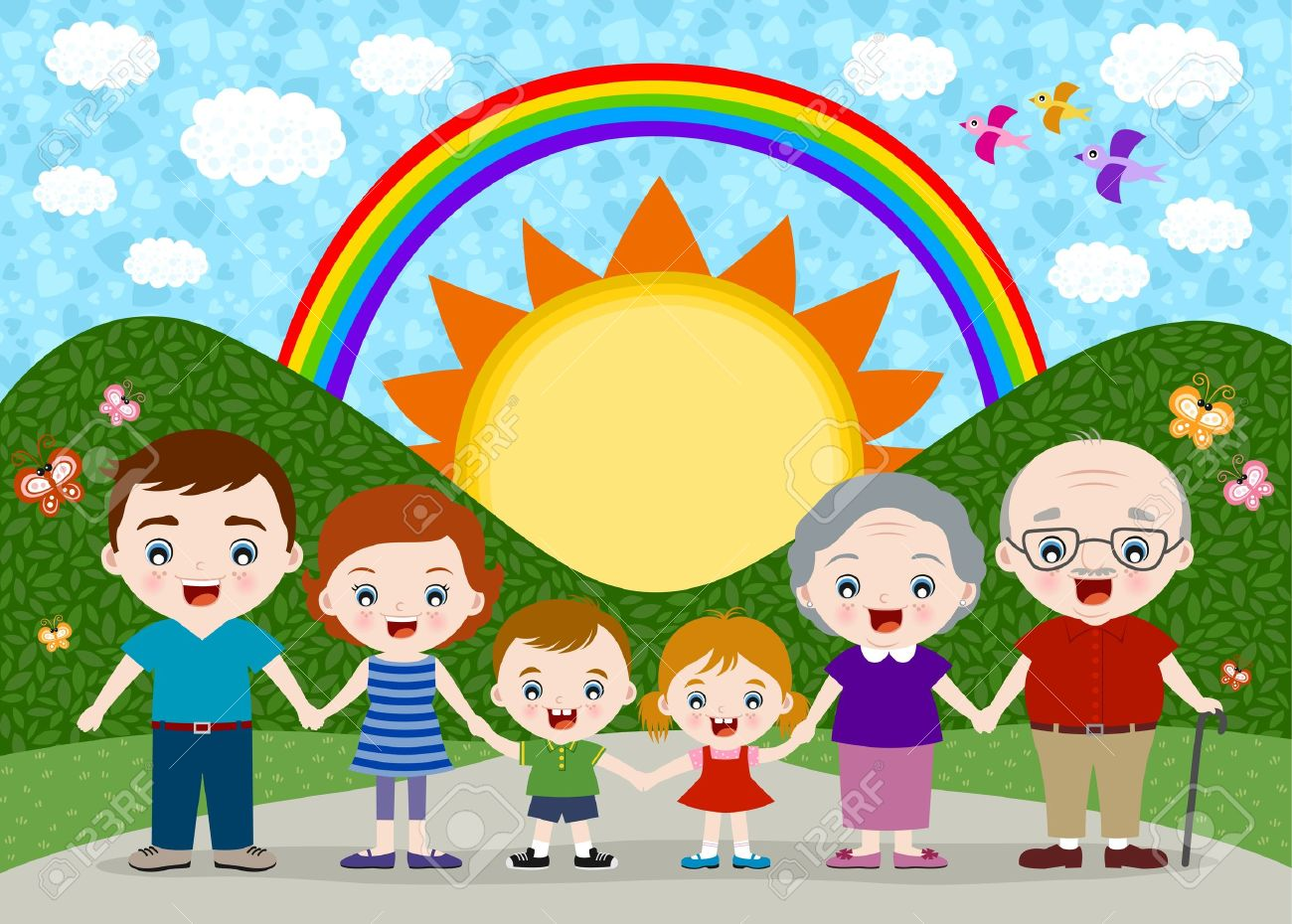 happy big family Stock Vector - 14557855