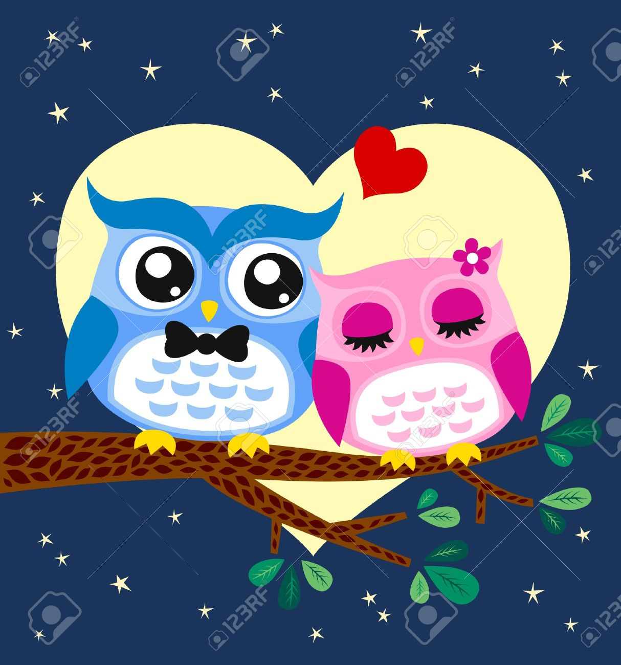owl couple illustration Stock Vector - 14557851