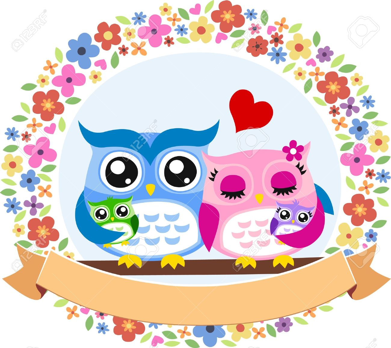 owl bird family floral frame emblem royalty free cliparts vectors  - owl bird family floral frame emblem stock vector
