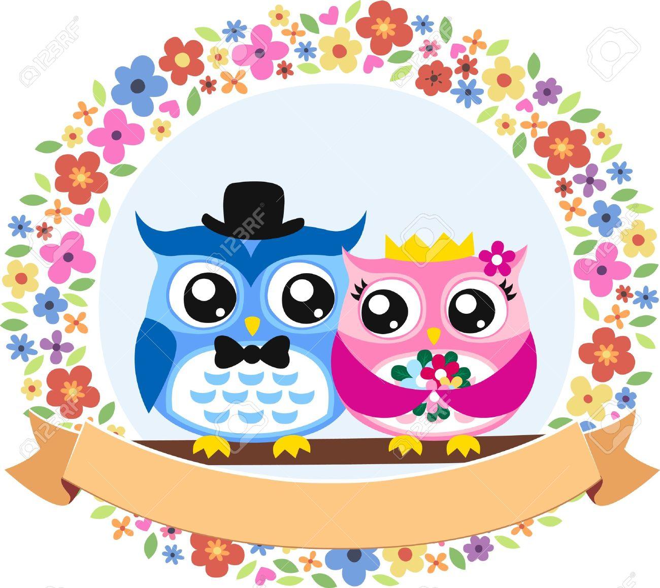 owl bride and groom floral frame emblem Stock Vector - 15368343
