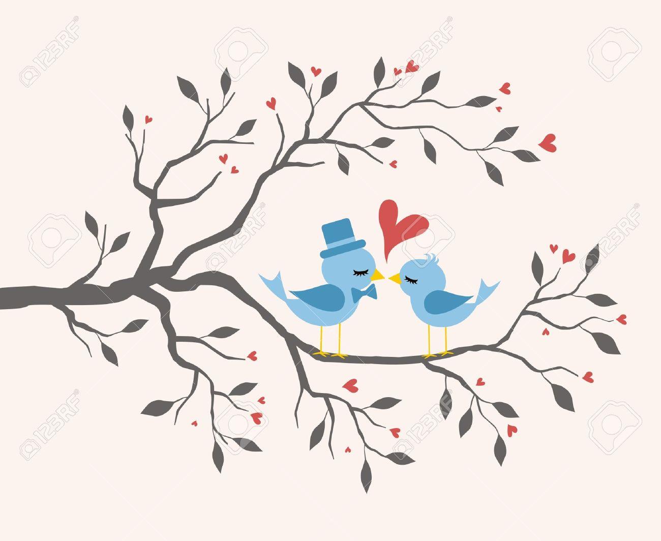 Kissing Birds in love at branch Stock Vector - 15420647