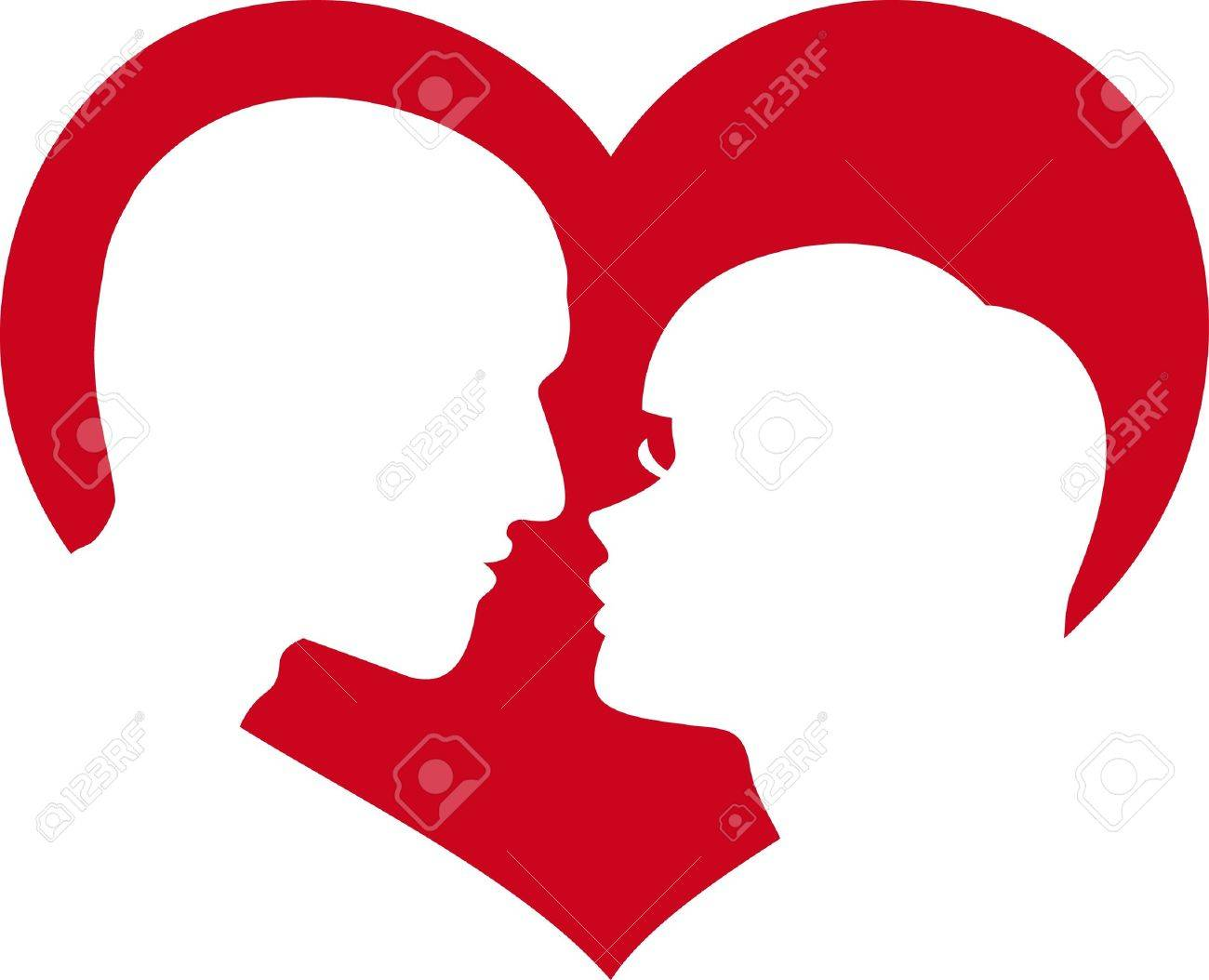Man And Woman Lovers In Red Heart Royalty Free Cliparts, Vectors ...
