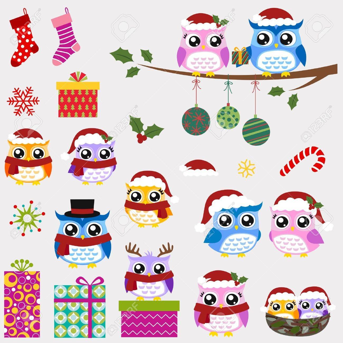 owl family christmas greeting Stock Vector - 16477735