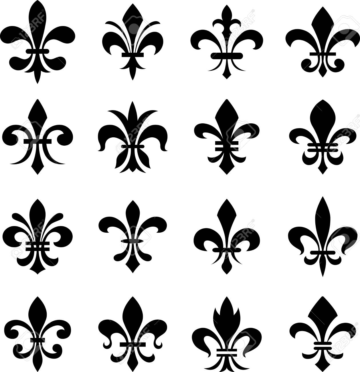 Classic Fleur De Lys Symbol Set Royalty Free Cliparts Vectors And