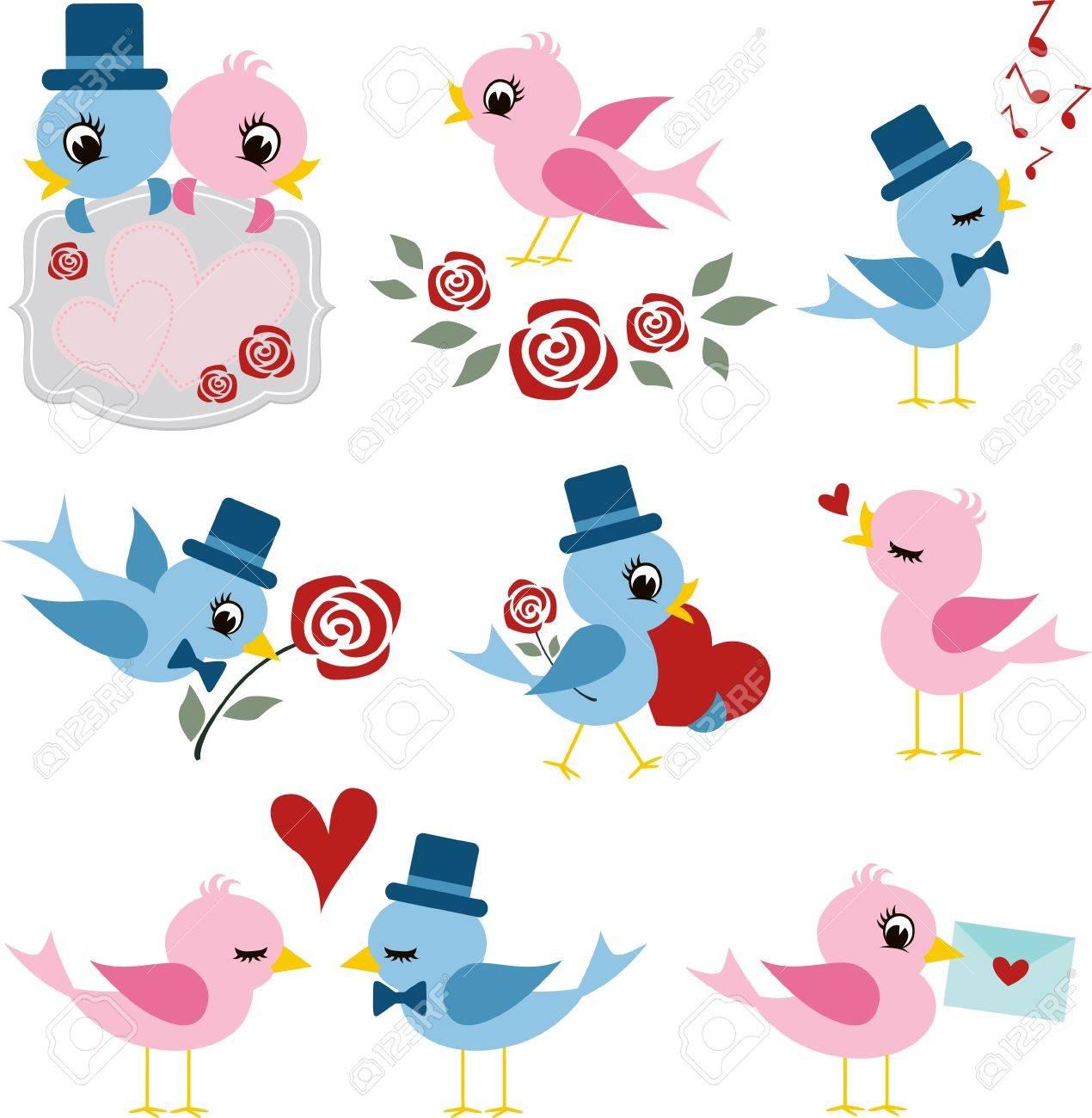 Vogelpaare Design Fur Valentinstag Lizenzfrei Nutzbare