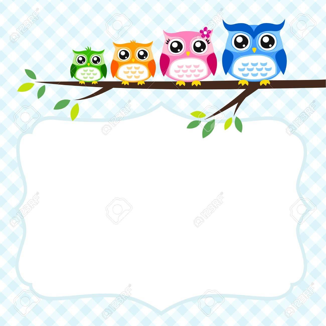 owl family greeting Stock Vector - 17176502