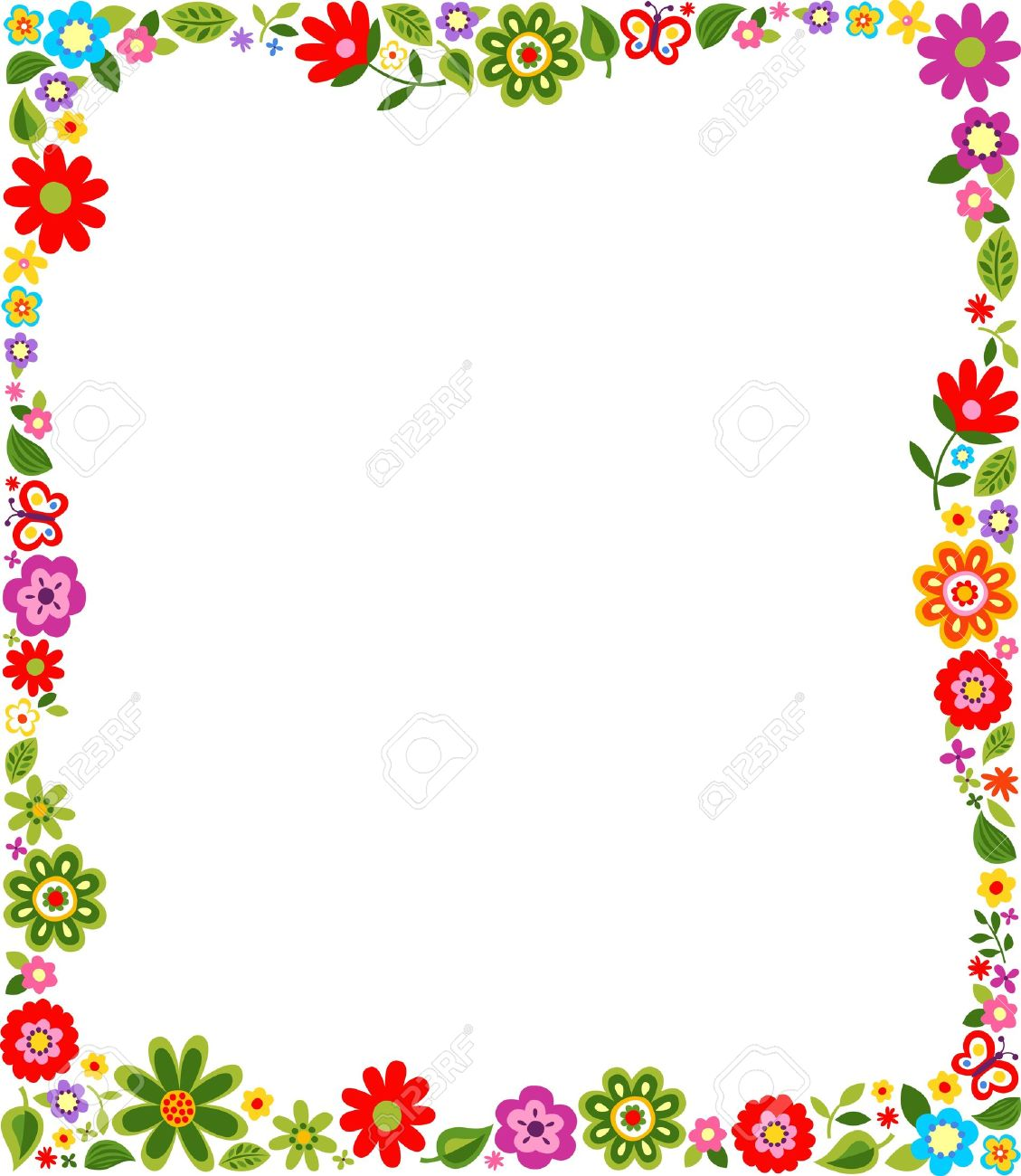 Cute Floral Border Pattern Royalty Free Cliparts Vectors And