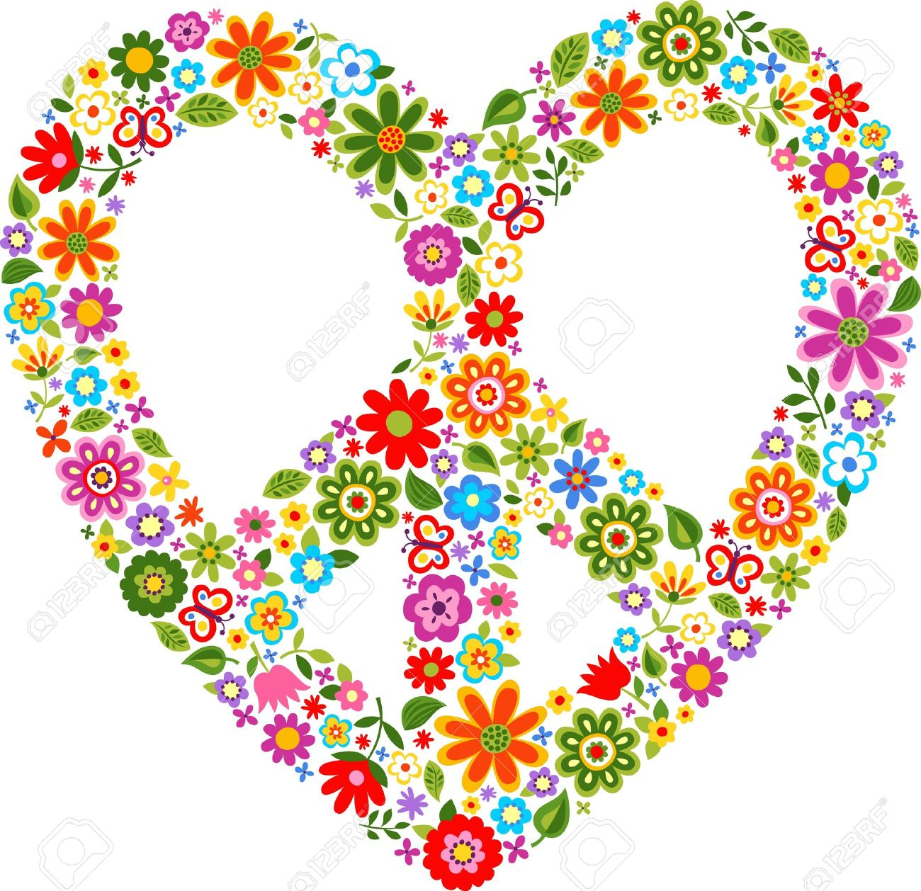 Heart Peace Symbol With Floral Pattern Royalty Free Cliparts