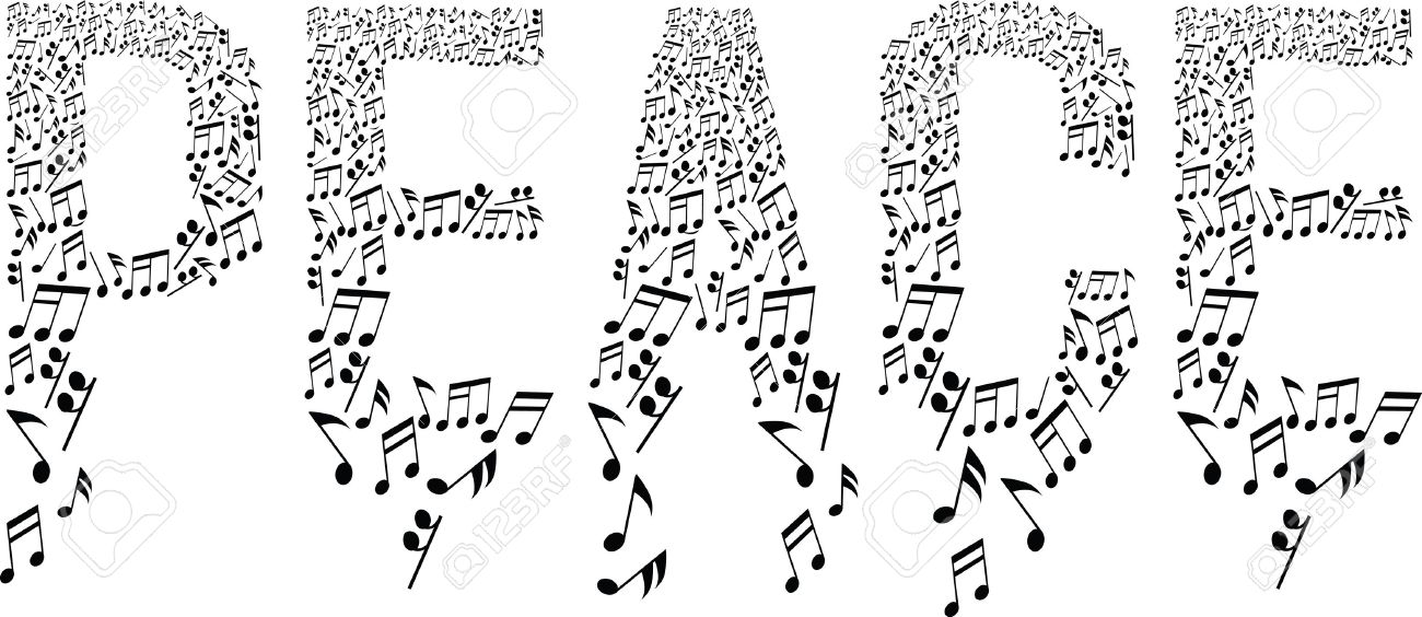 Peace Symbol With Musical Notes Royalty Free Cliparts Vectors And
