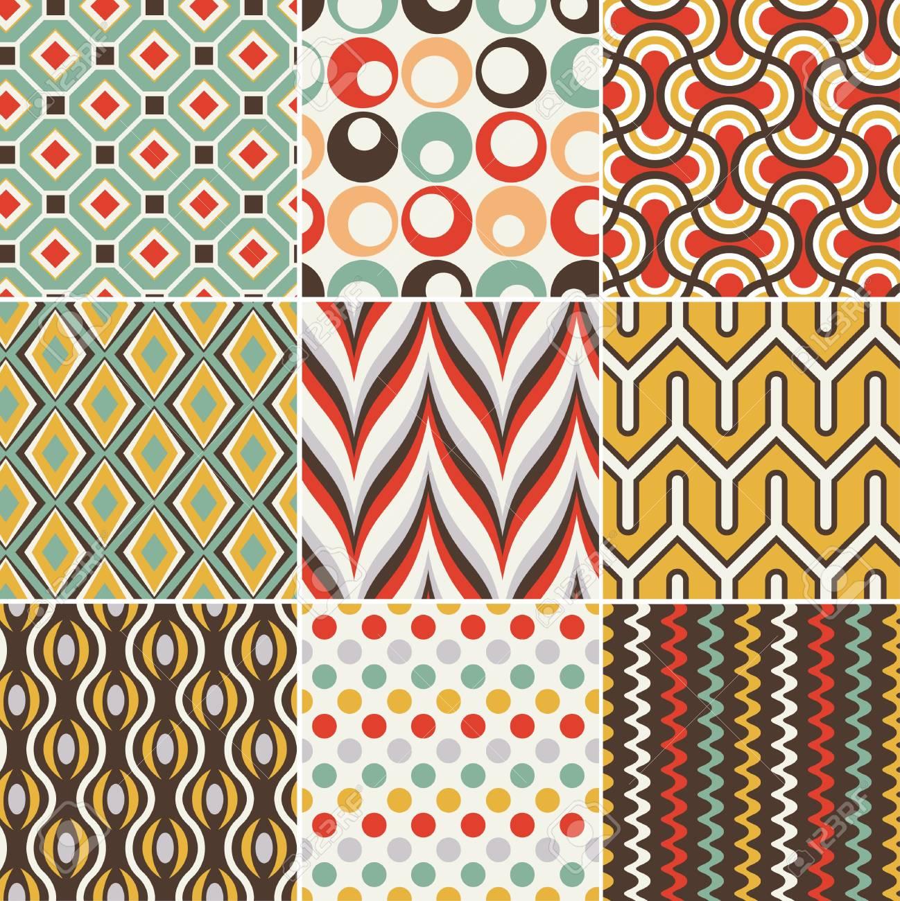 シームレスなレトロな幾何学模様のイラスト素材・ベクタ - Image 19604736.