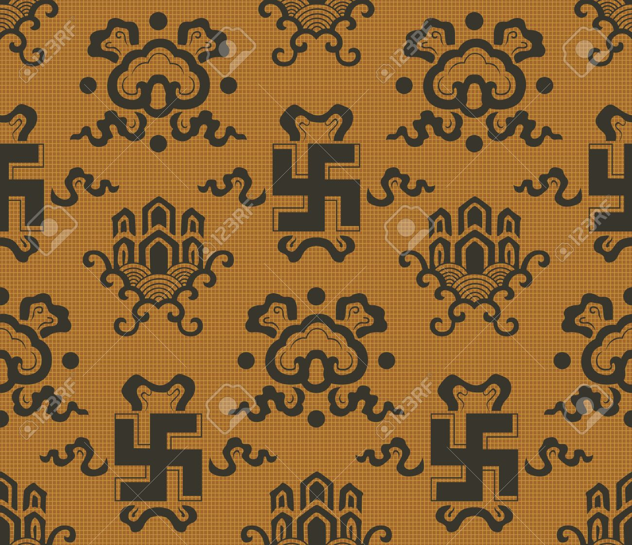 seamless chinese  swastika , auspicious symbol background Stock Vector - 24905474