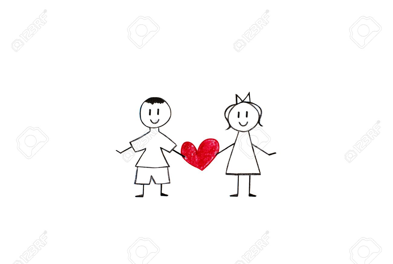 Boy and girl holding heart pencil drawings on white paper shit stock photo 35897169