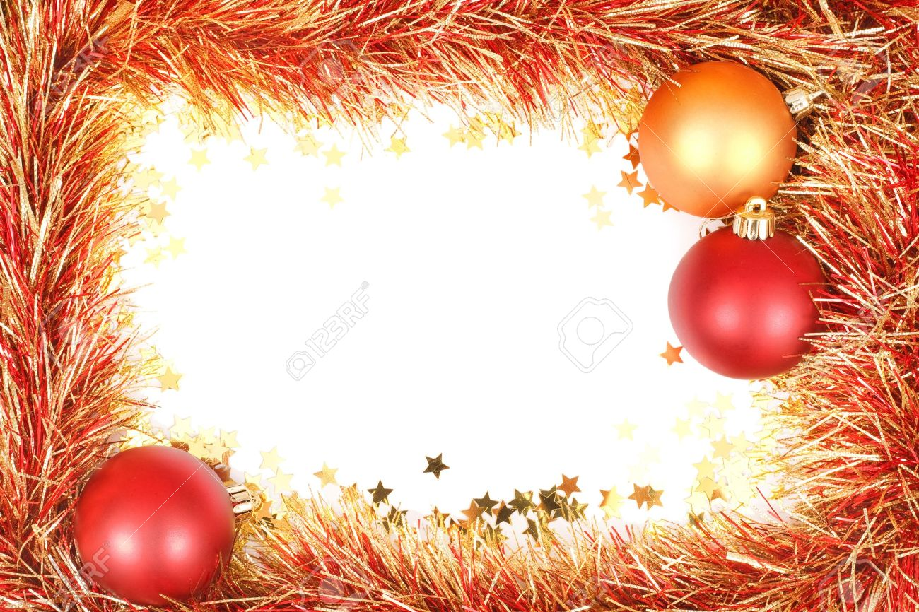 christmas template white space surrounded by christmas christmas template white space surrounded by christmas decorations tinsel and confetti stock photo