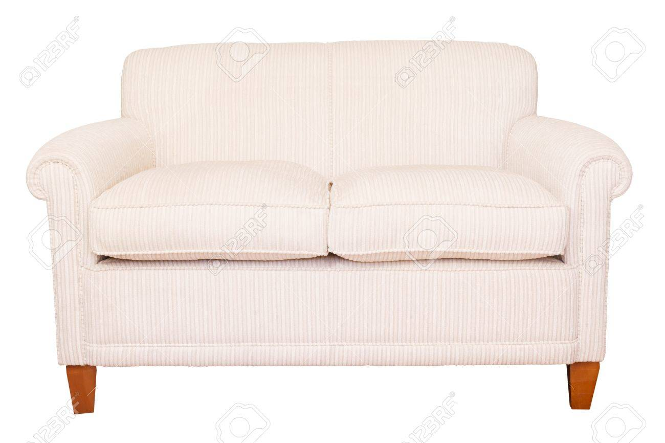 Modern Neutral Cream Sofa Isolated Against A White Background With Clipping  Path Stock Photo   14809599