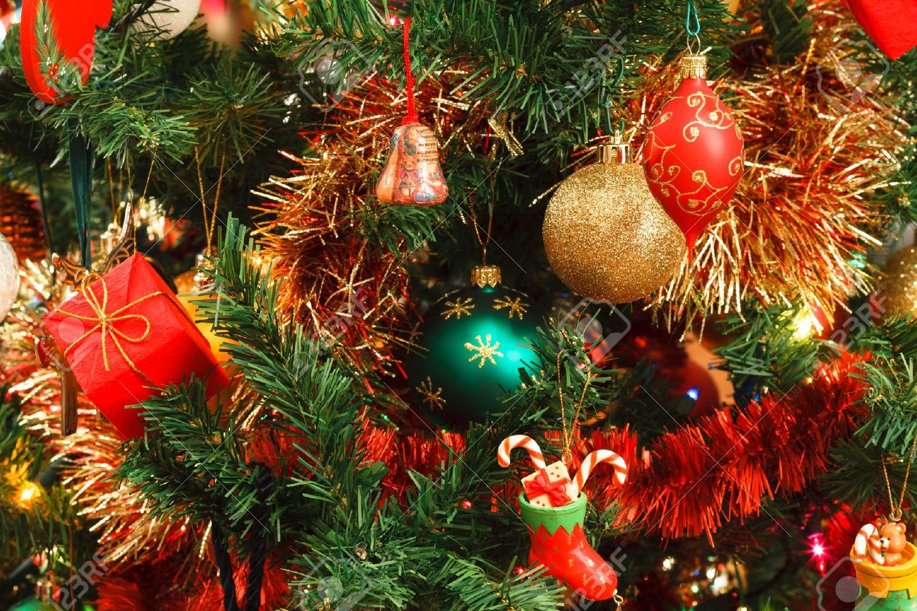 Closeup of Christmas ornaments on artifical tree Stock Photo - 15819270