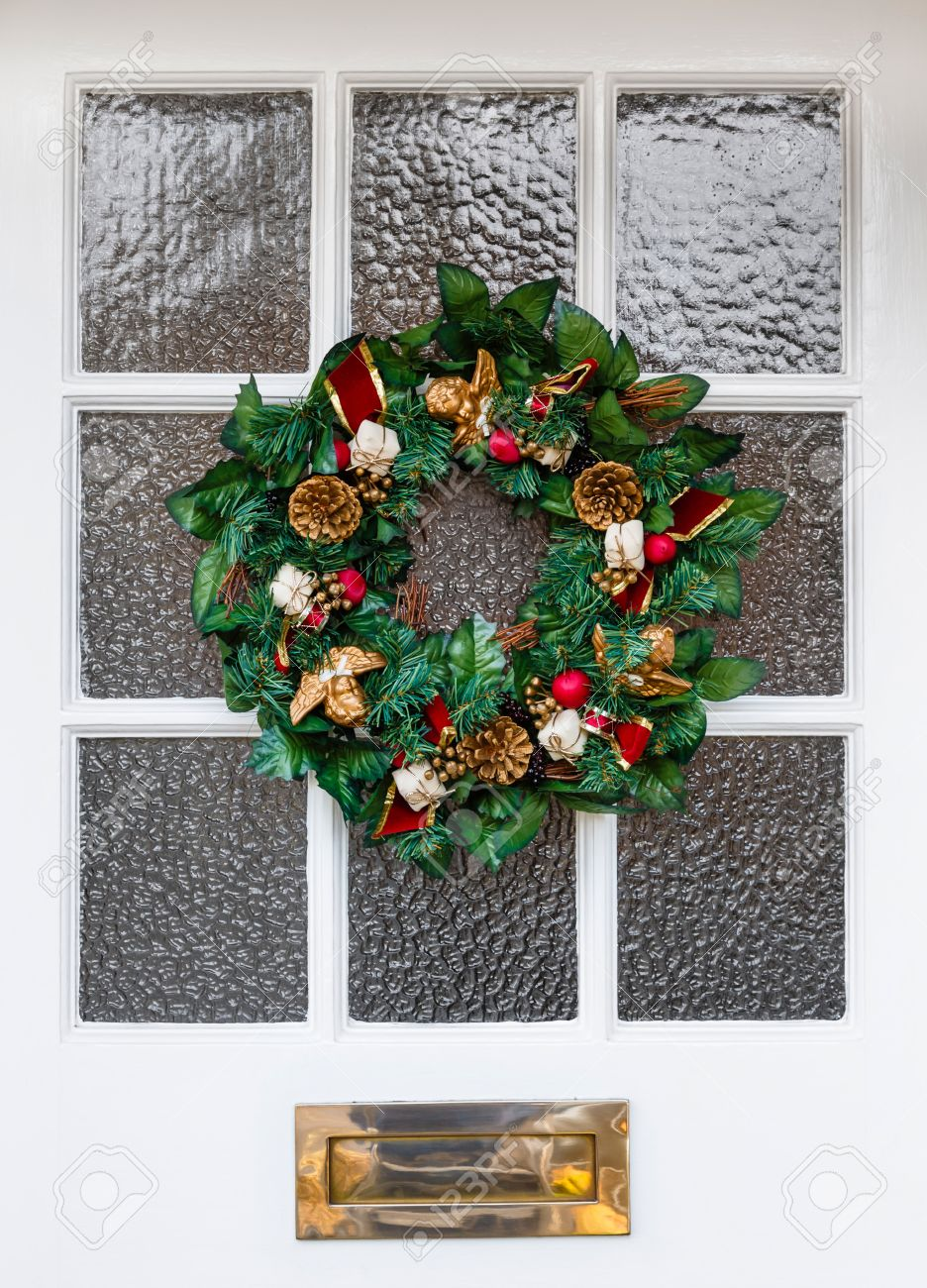 Christmas Wreath On Front Door Of A House Stock Photo Picture And