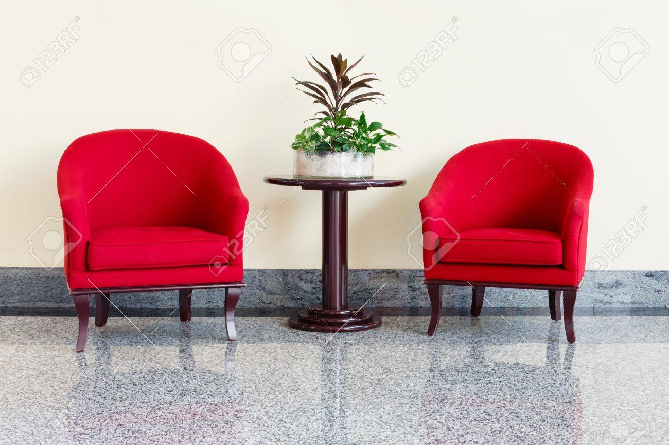 Wonderful Modern Red Armchairs And Table In A Foyer Stock Photo   58989069